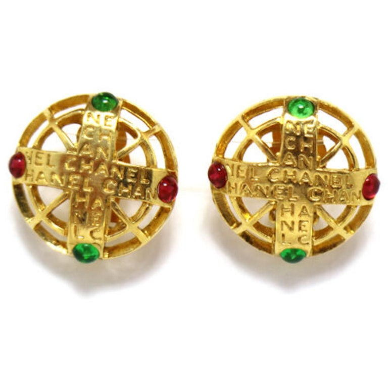 Chanel Gold Green Red Gripoix 'CHANEL' Button Evening Earrings In Good Condition For Sale In Chicago, IL