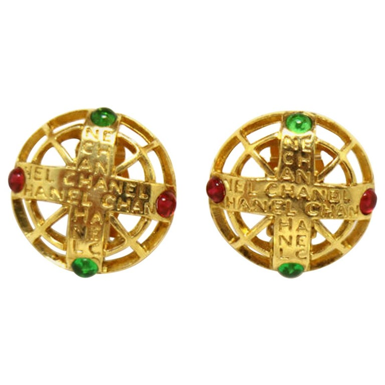 Chanel Gold Green Red Gripoix 'CHANEL' Button Evening Earrings For Sale