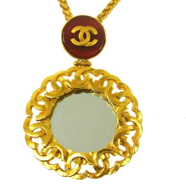 Metal Gripoix Gold tone Mirror detail Made in France Charm diameter 2.25