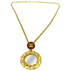 Chanel Gold Gripoix Mirror Logo Evening Pendant Charm Link Necklace in Box