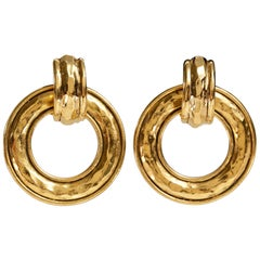 Chanel Gold Hammered Hoop Vintage Earrings