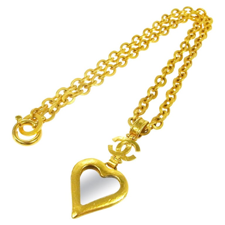 Chanel Gold Heart Mirror Detail Evening Pendant Charm Long Link Necklace in Box For Sale