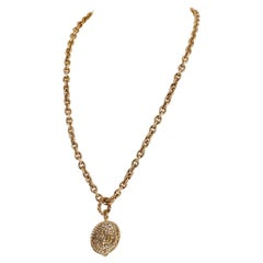 Chanel Gold Horse and Rider Medallion Necklace