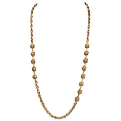 Chanel Gold Knot Crystal Vintage Necklace