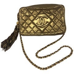 Chanel Gold Lambskin Tassel Crossbody Bag