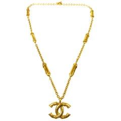 Chanel Gold Large CC Charm Medallion Chain Link Pendant Long Drape Necklace