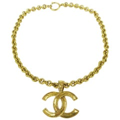 Chanel Gold Large Charm CC Link Evening Pendant Choker Chain Necklace