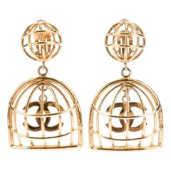 Chanel Gold Large Charm Evening Dangle Drop Chandelier Cage Earrings