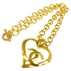 Chanel Gold Large Heart Charm Logo Evening Drop Drop Chain Necklace in Box