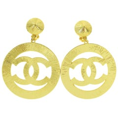 Chanel Gold Large Round Circle Hoop Logo Evening Dangle Drop Earrings in Box