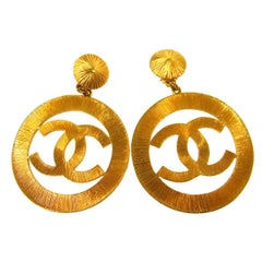 Chanel Gold Large Textured Metal Round Hoop Doorknocker Hoops Earrings in Box
