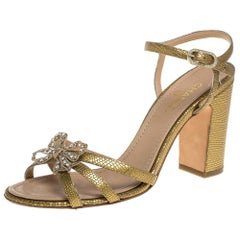 Chanel Gold Leather Butterfly Embellished Sandals Size 38