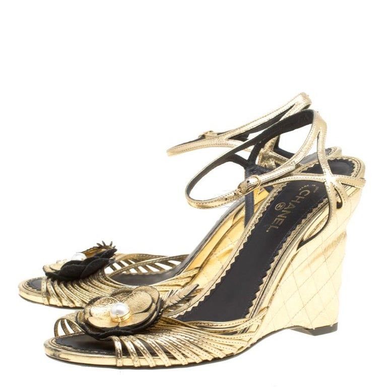 dfd621bbe8d2 Chanel Gold Leather Camelia Wedge Sandals Size 38.5 For Sale at 1stdibs