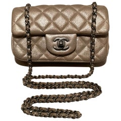 Chanel Gold Leather Extra Mini Classic Flap