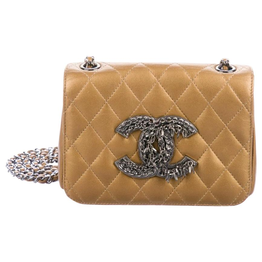 Chanel Gold Leather Gunmetal Silver Chain CC Small Evening Shoulder Flap Bag