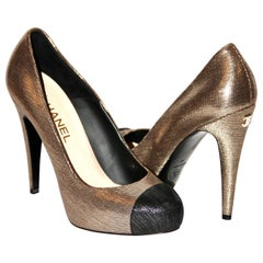 Chanel Gold Leather Heels Platform Pumps