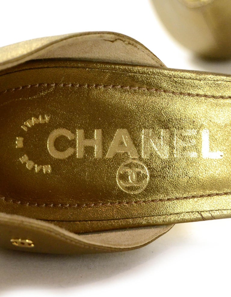 Chanel Gold Leather Pointy Toe Pumps sz 37.5 For Sale 1