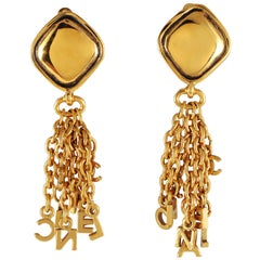 Chanel Gold Letter Fringe Earrings