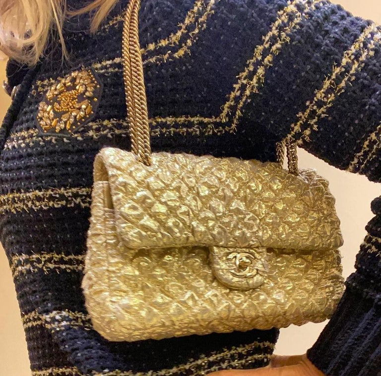 Chanel Gold Limited Edition Lamé Bag For Sale 6
