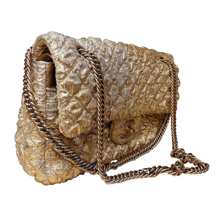Brown Chanel Gold Limited Edition Lamé Bag For Sale