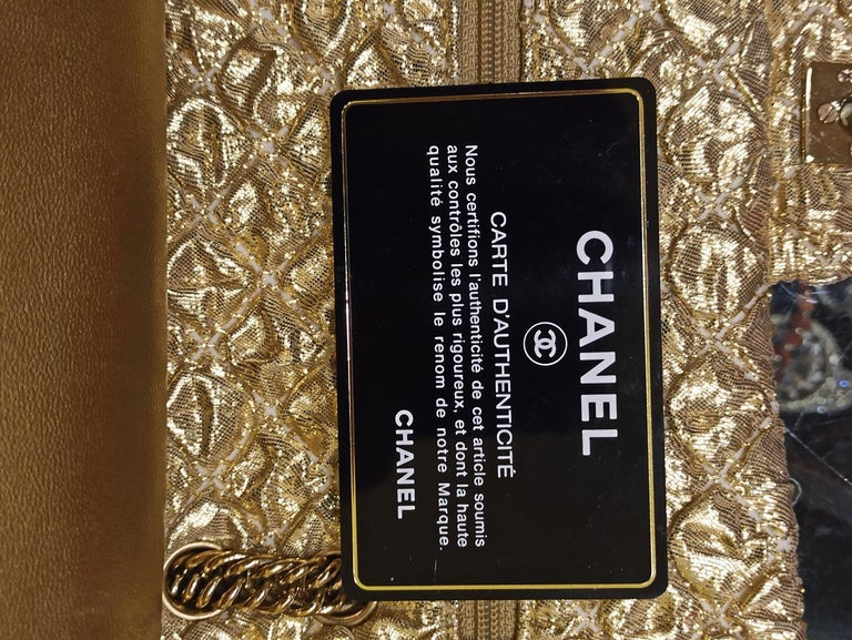 Chanel Gold Limited Edition Lamé Bag For Sale 4