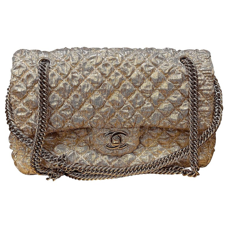 Chanel Gold Limited Edition Lamé Bag For Sale