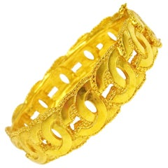 Chanel Gold Link Interlocked CC Charm Evening Cuff Bracelet