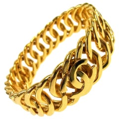 Chanel Gold Link Interwoven CC Charm Evening Cuff Bracelet in Box