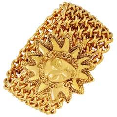 Chanel Gold Lion on Sun Chain Mail Bracelet