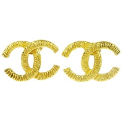 Chanel Gold Logo Charm CC Logo Evening Stud Earrings