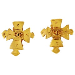 Chanel Gold Maltese Cross Earrings