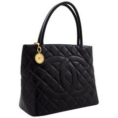 CHANEL Gold Medallion Caviar Shoulder Bag Grand Shop Tote Black