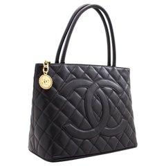 CHANEL Gold Medallion Caviar Shoulder Bag Grand Shopping Tote