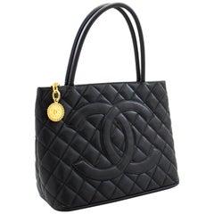 CHANEL Gold Medallion Caviar Shoulder Shopping Tote Bag Black