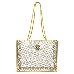 Chanel Gold Metal Beaded See Through Carryall Travel Shoulder Tote Bag in Box