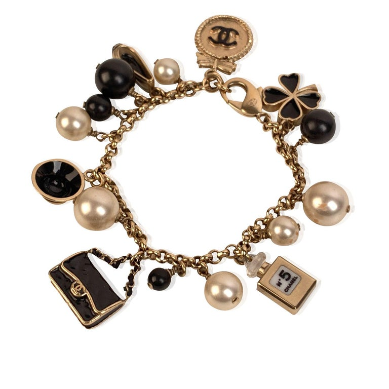 Chanel Gold Metal Faux Pearl and Iconic Charm Bracelet 2