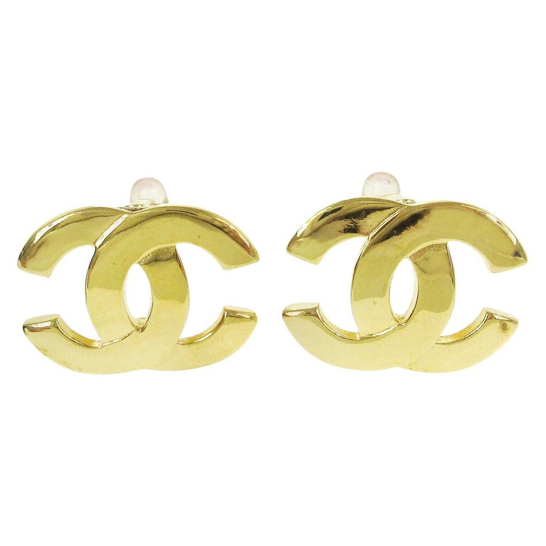 Chanel Gold Metal Logo Charm Small Logo Evening Stud Earrings in Box For Sale