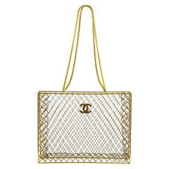 Chanel Gold Metal Transparent See-Through Carryall Travel Shoulder Tote Bag