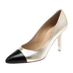 Chanel Gold Metallic/Black Leather Escarpins Cap Toe Pumps Size 39