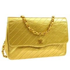 Chanel Gold Metallic Leather Chevron Small Evening Shoulder Flap Bag