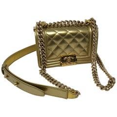 Chanel Gold Mini Boy Crossbody Bag