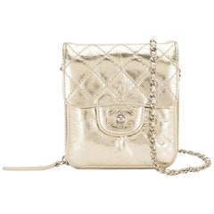 Chanel Gold Mini Diamond Quilted CC Crossbody Bag