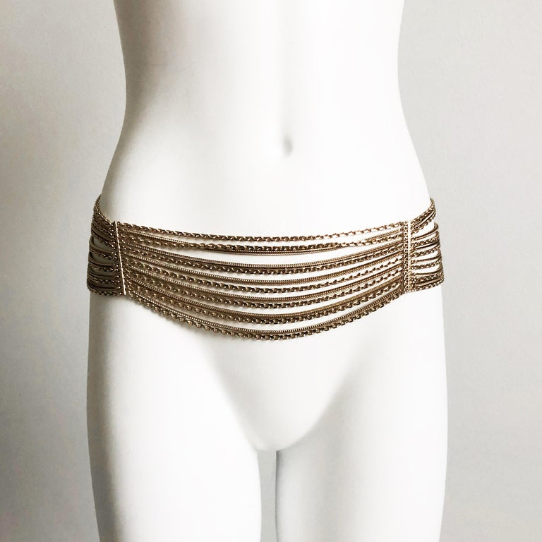 Women's or Men's Chanel Gold Multi-Chain Belt with CC Logo Charm NWT NOS 07P  For Sale