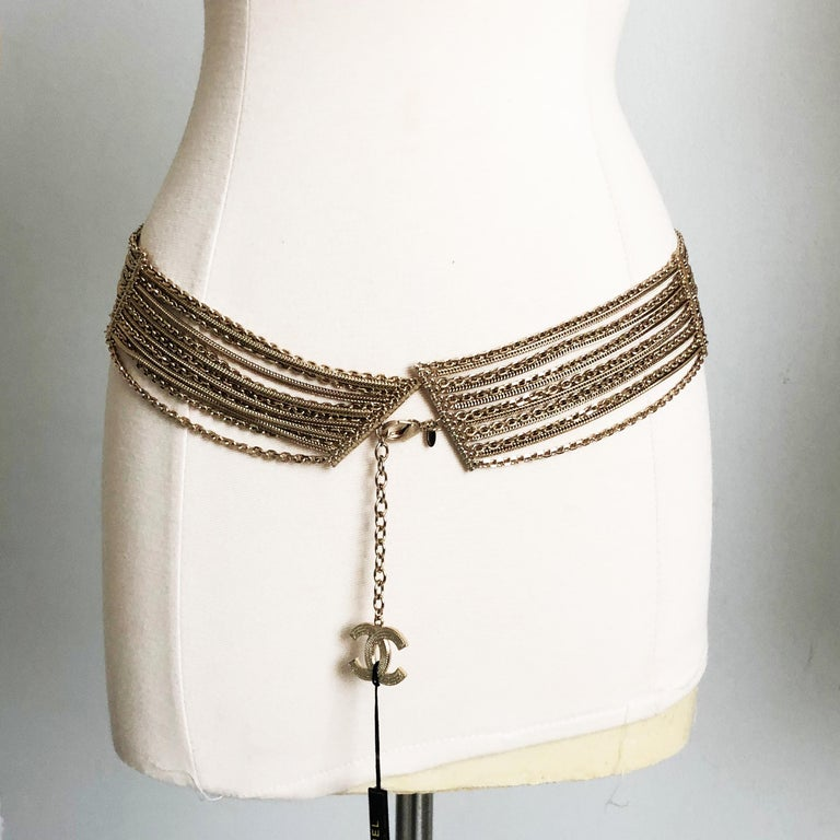 Chanel Gold Multi-Chain Belt with CC Logo Charm NWT NOS 07P  For Sale 1