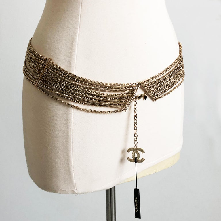 Chanel Gold Multi-Chain Belt with CC Logo Charm NWT NOS 07P  For Sale 3