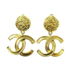 Chanel Gold Nugget CC Charm Evening Dangle Drop Evening Earrings