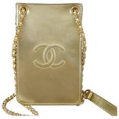Chanel Gold Patent Leather CC Phone Holder Crossbody Bag