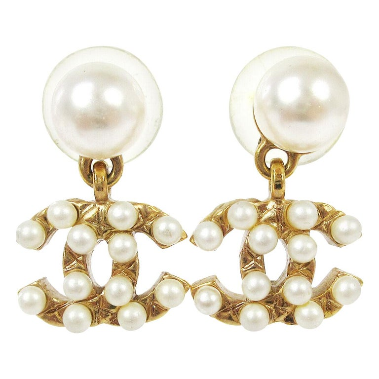 Chanel Gold Pearl Charm CC Small Pierced Evening Dangle Drop Earrings For Sale
