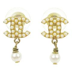 Chanel Gold Pearl Charm CC Small Pierced Evening Dangle Drop Earrings
