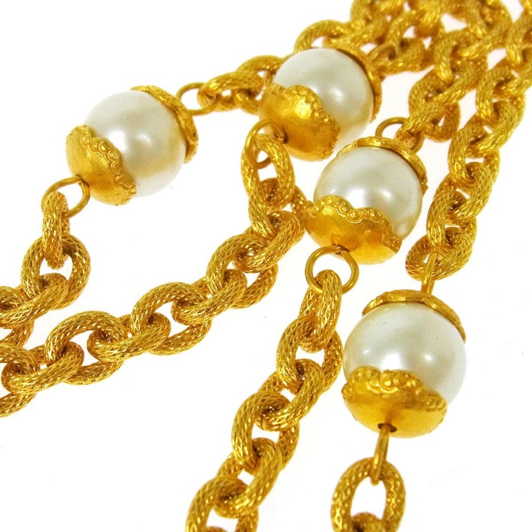 Chanel Gold Pearl Glass Mirror Long Chain Evening Statement Necklace in Box In Good Condition For Sale In Chicago, IL